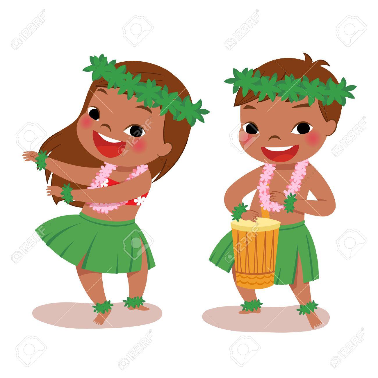 再生ドラムとハワイアン ガール フラダンス ハワイアンの男の子の