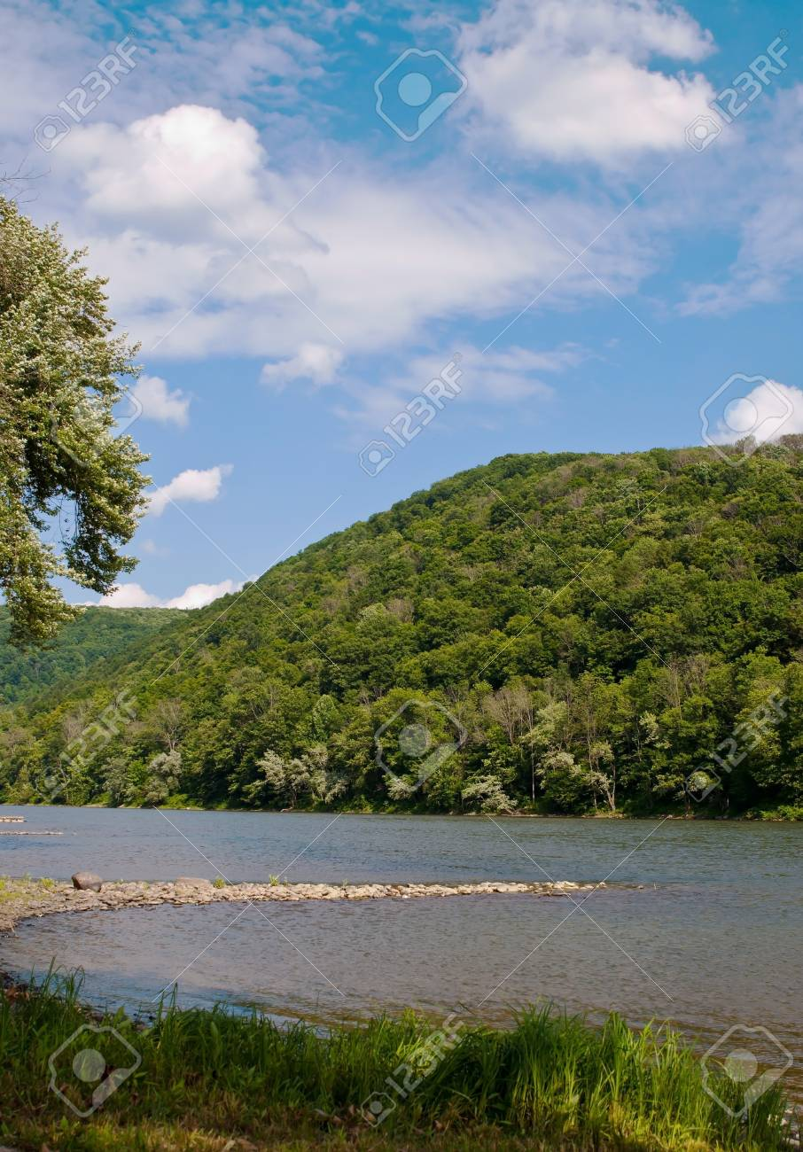The Allegheny River at Althom, Pennsylvania, USA under a cloud