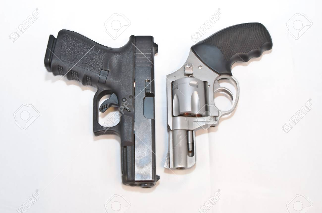 Two handguns, a black 9mm pistol and a silver 357 magnum revolver,