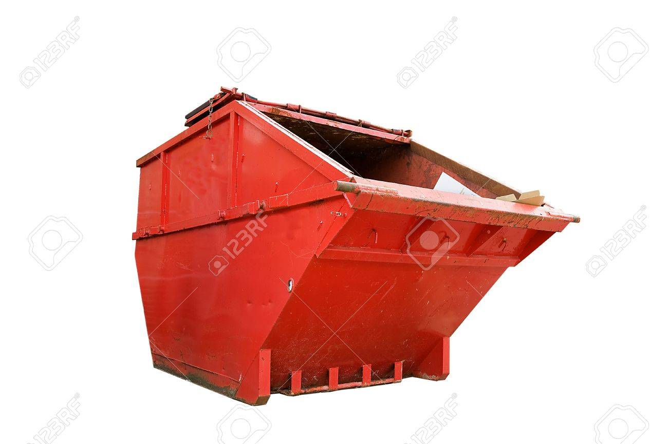 Red Industrial Waste Bin Isolated Over White Stock Photo - 8370963
