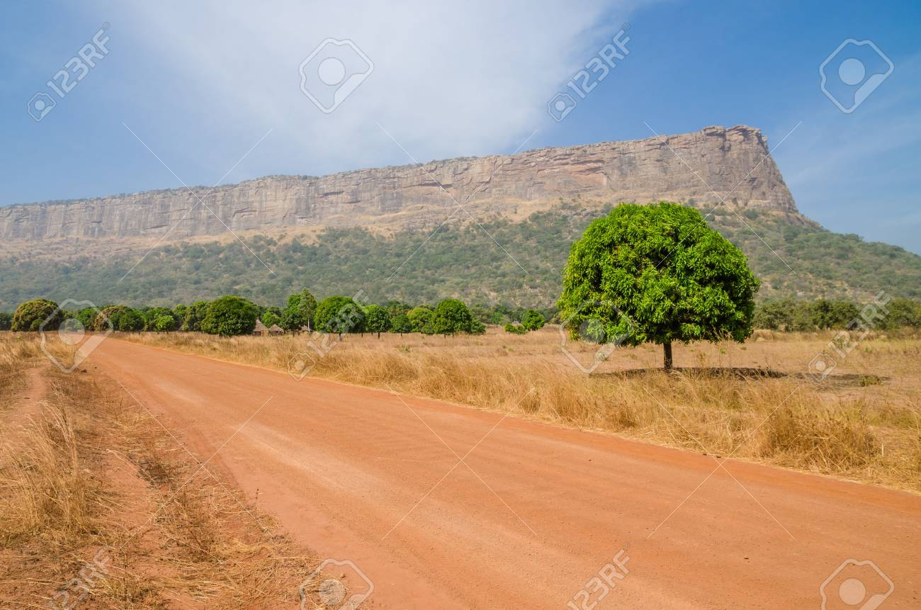 Red dirt and gravel road, single trees and large flat topped mountain in Fouta Djalon region, Guinea, West Africa - 87602803