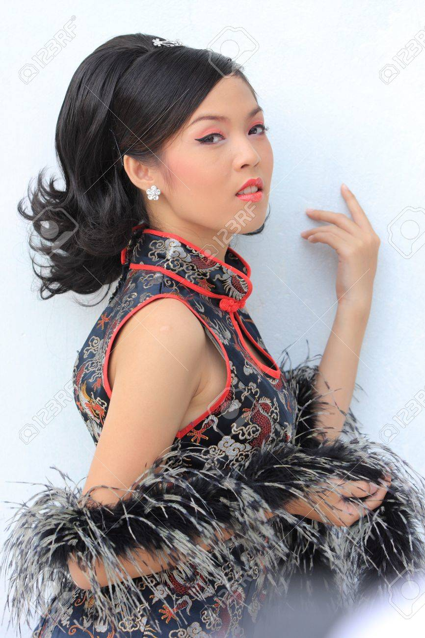Young lady in black traditional chinese dress , Thailand. Stock Photo - 9018879
