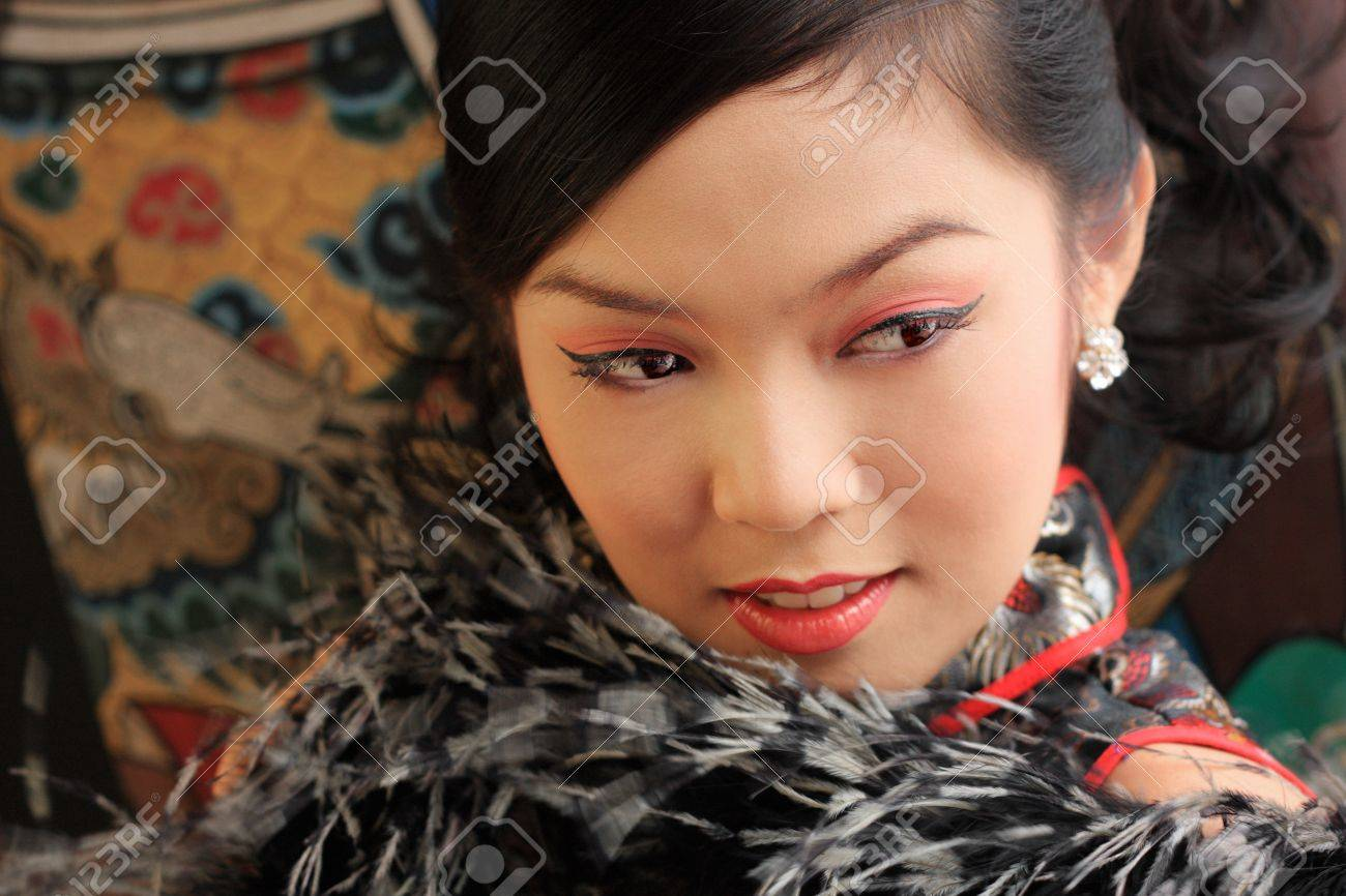 Young lady in black traditional chinese dress , Thailand. Stock Photo - 9018863