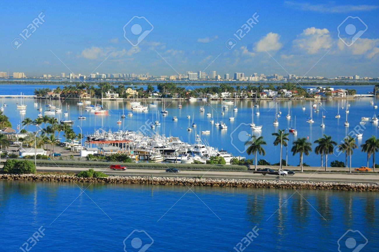 yacht ship on the sea in Miami ,Florida , USA. - 9018890