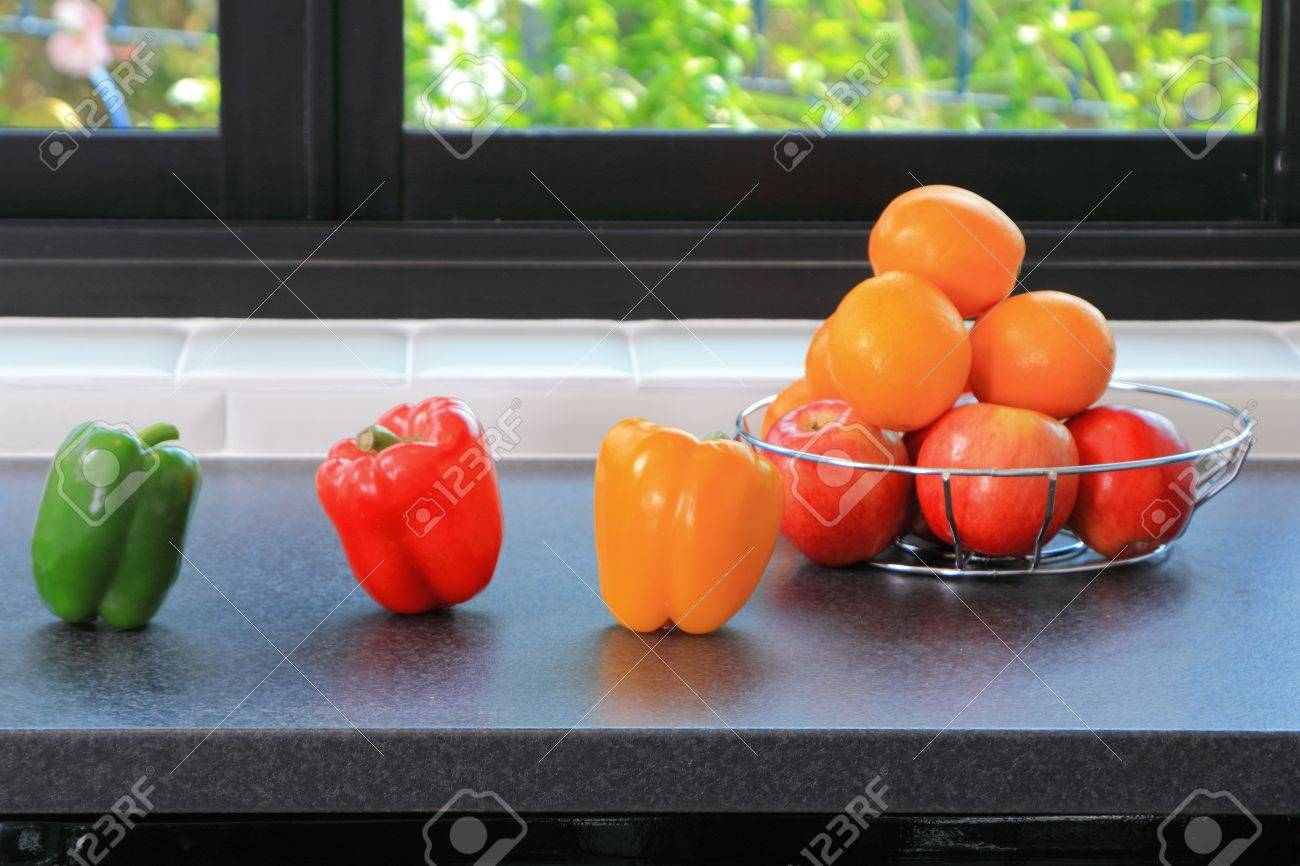 Modern kitchen of home with accessory on table and foods. Stock Photo - 14754363