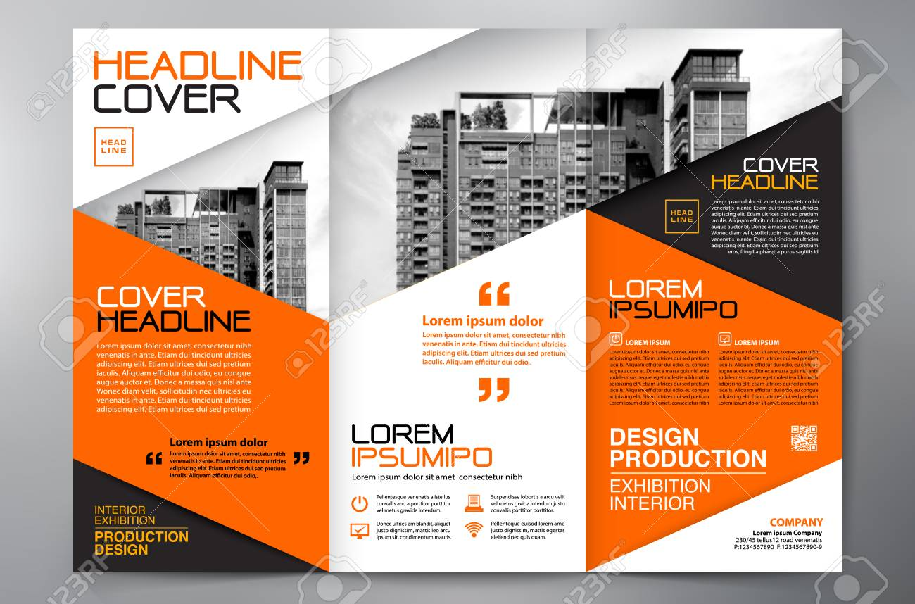 Business Brochure Template With Building Tower Design Royalty Free