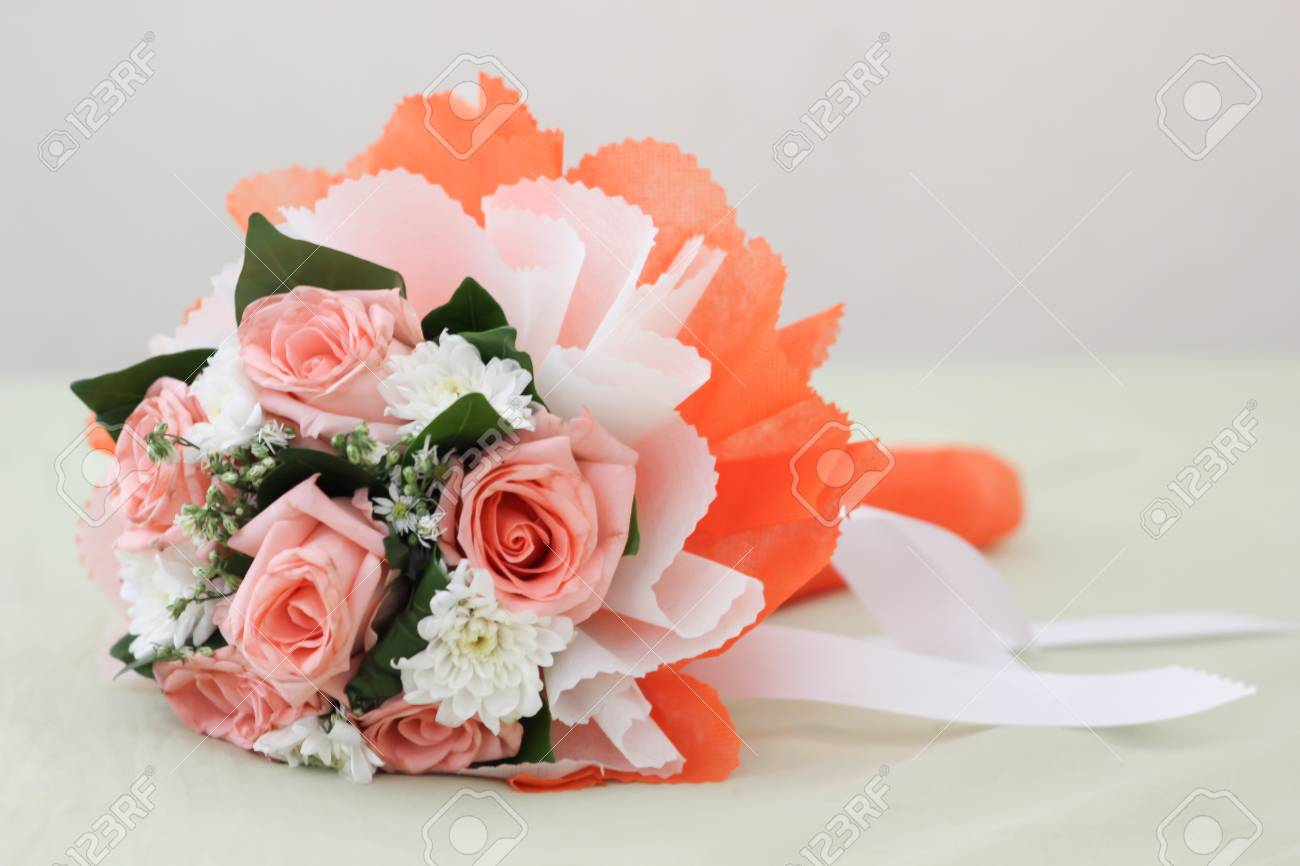 Bouquet On White Cloth Stock Photo Picture And Royalty Free Image