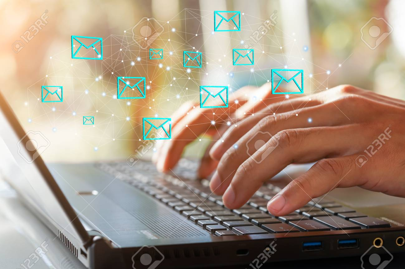 Businessman hand using Laptop pc with email icon, Email concept - 95475143