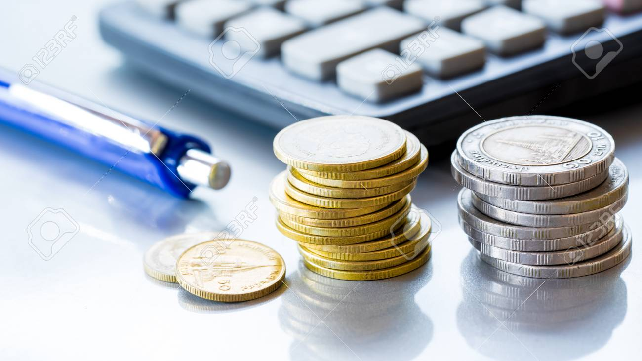 Stack of coins money with account book finance and banking concept for background.concept in grow and walk step by step for success in business - 95475401