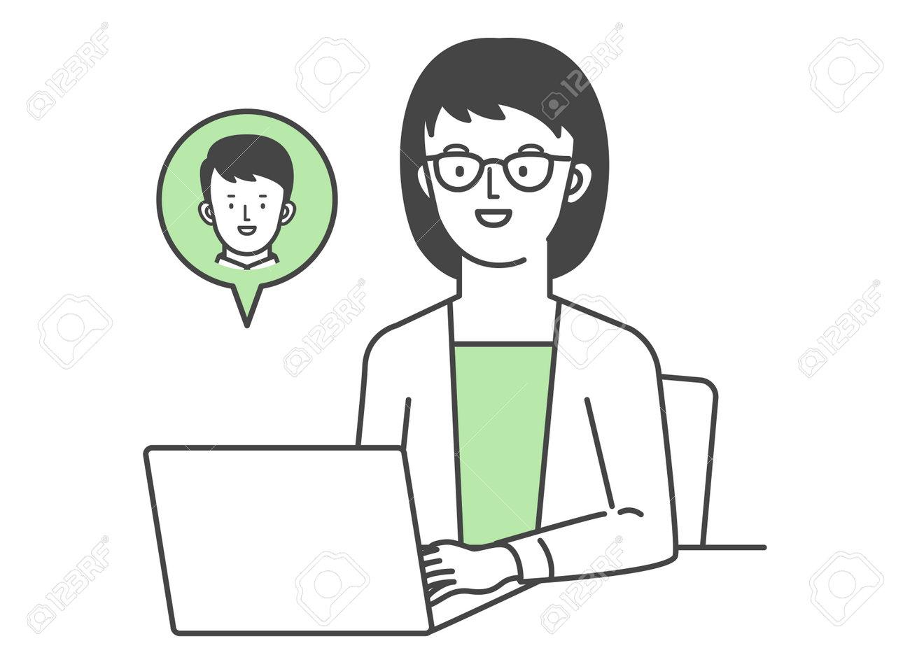 Illustration illustration of businessman making online call Illustration of a businessman making an online call. - 171029801