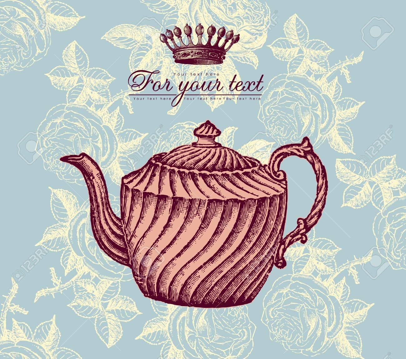 Retro design with teapot Stock Vector - 9655354