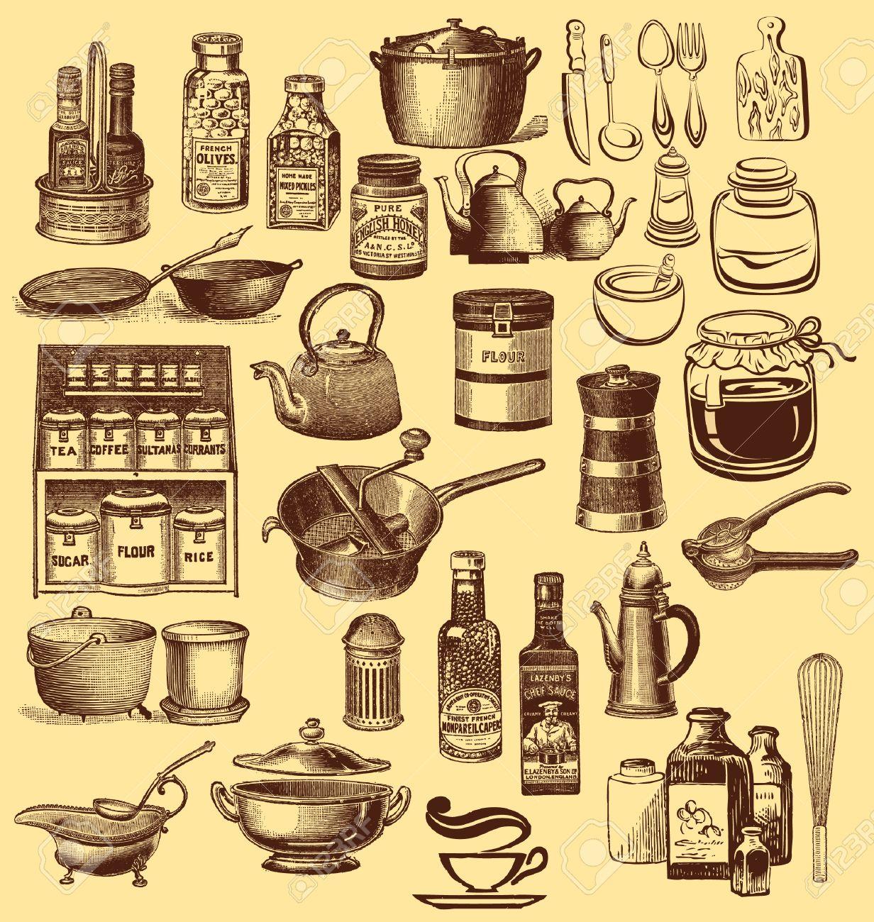 conjunto vintage de cermica y accesorios de cocina foto de archivo