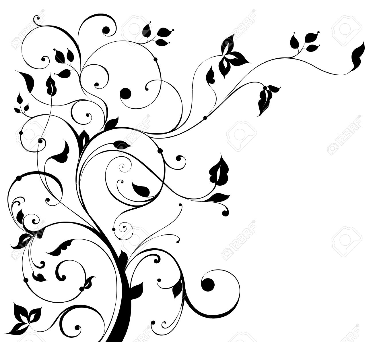 Beautiful ornament with flowers and curls Stock Vector - 9868893