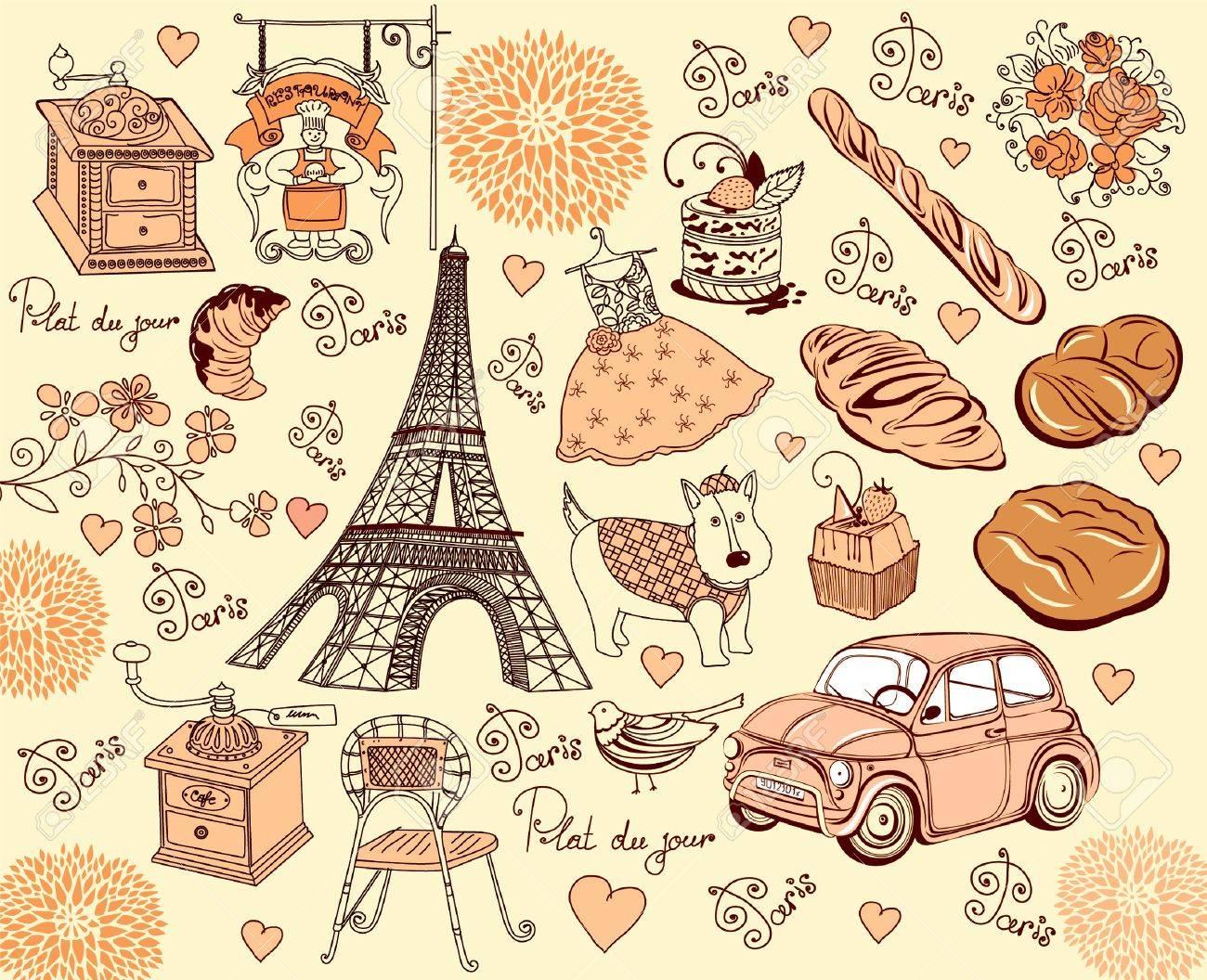 Collection symbols of Paris Stock Vector - 9775458