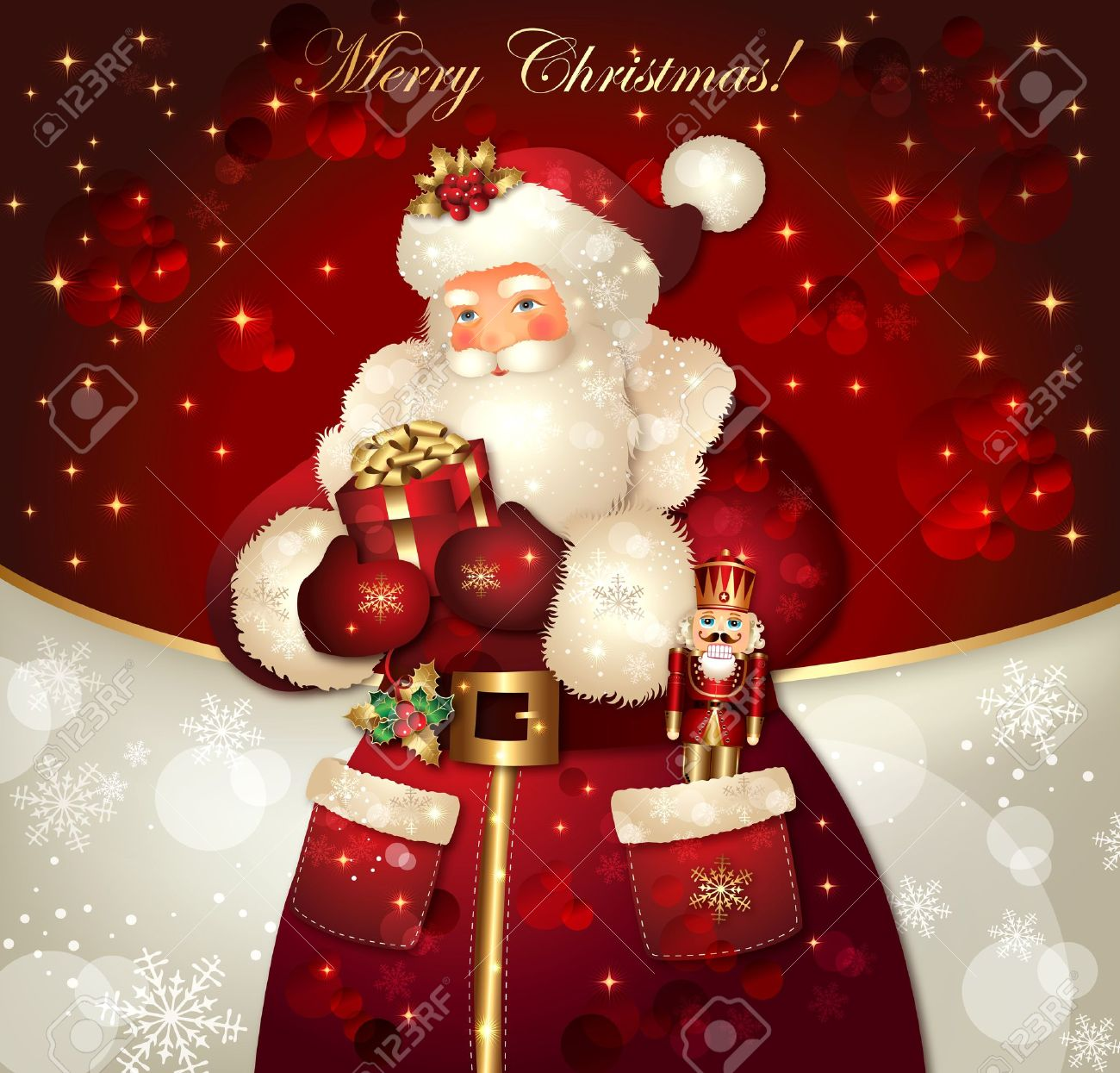 christmas card with santa claus and congratulations royalty free