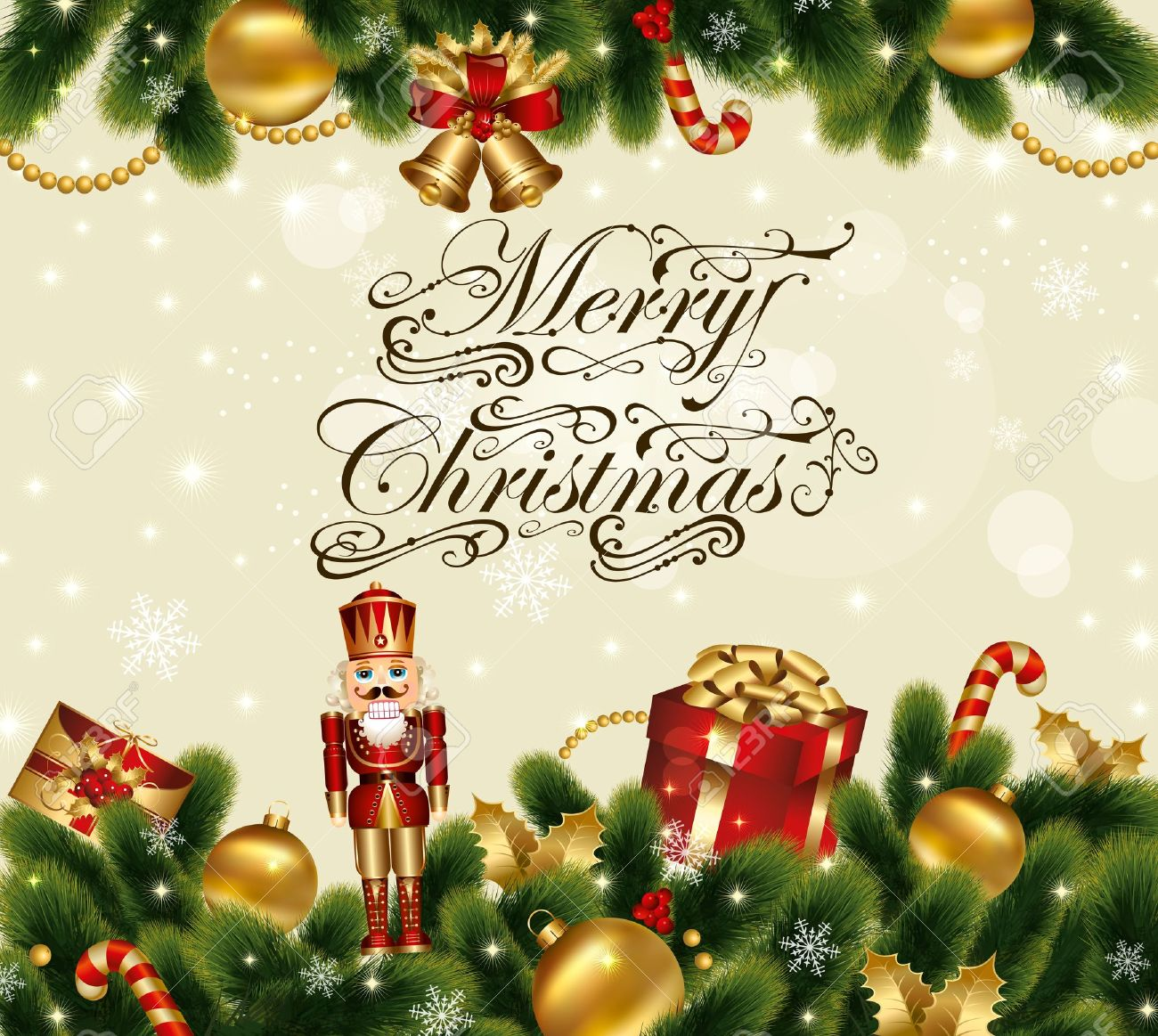 cascanueces tarjeta de navidad vector de fiesta con fondo ornamental decorada con abetos y regalos