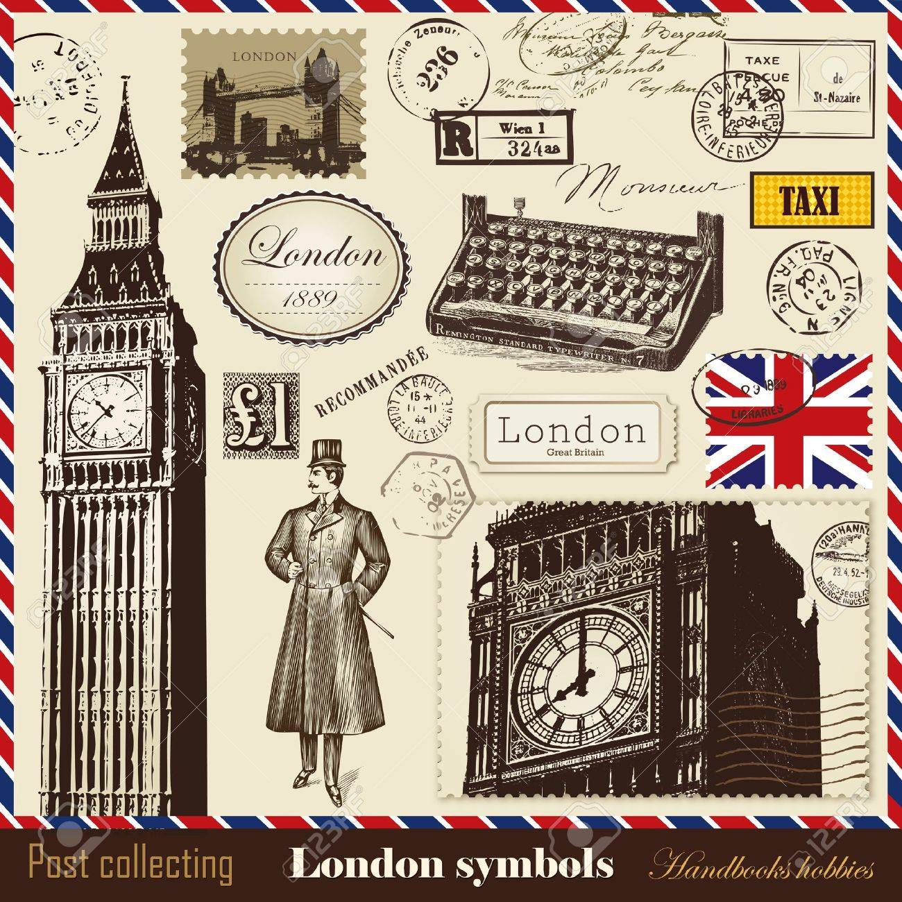 Vector set of postage and London symbols Stock Vector - 12082604