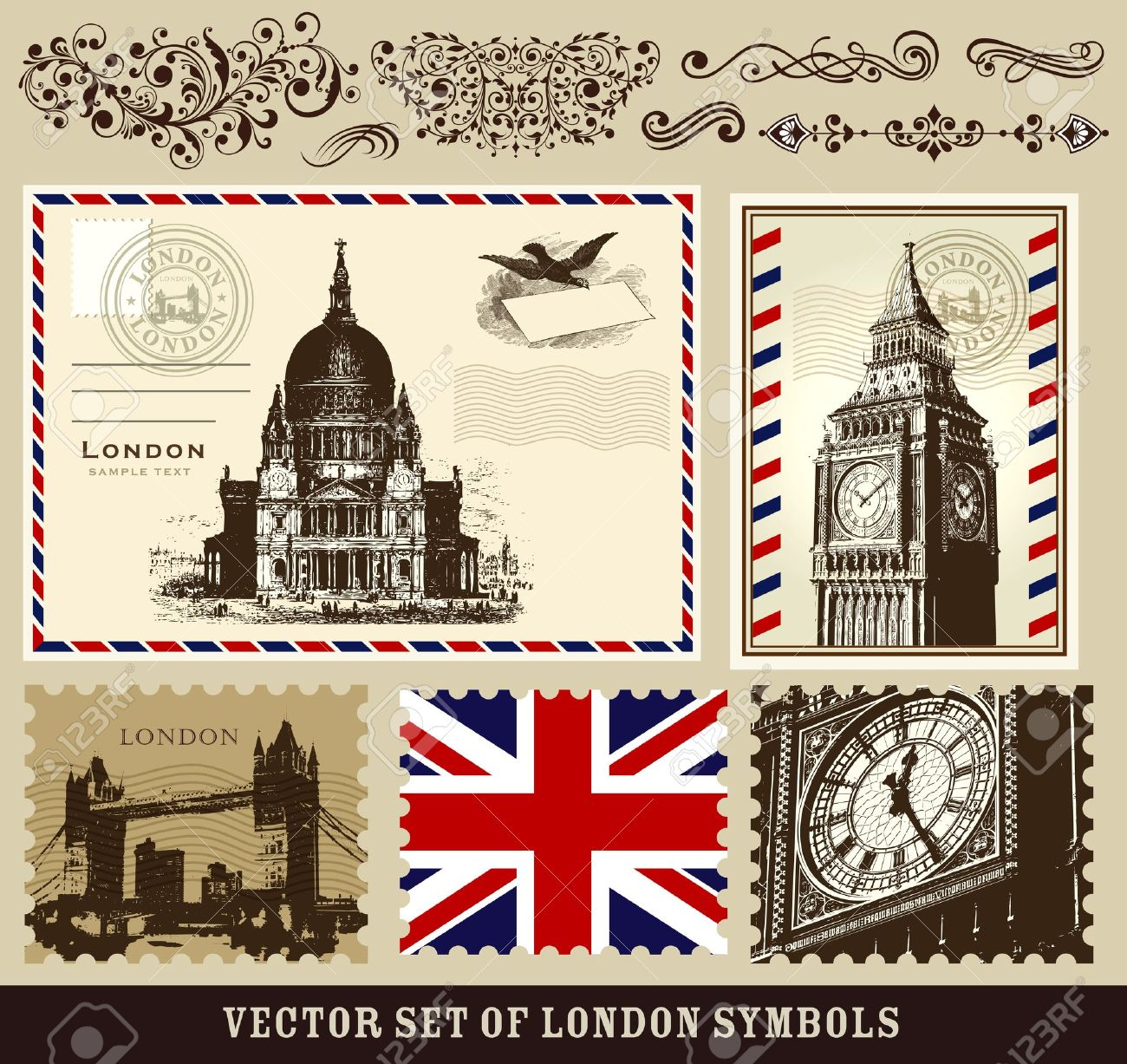 Vector set of London symbols Stock Vector - 12149798