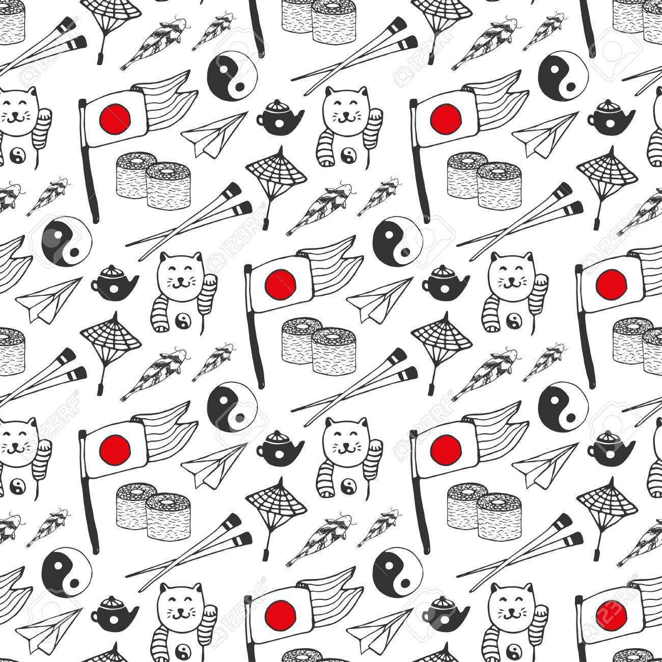 Hand Drawn Seamless Pattern With Japan Culture Elements Japan Background For Design Vector Il Ration