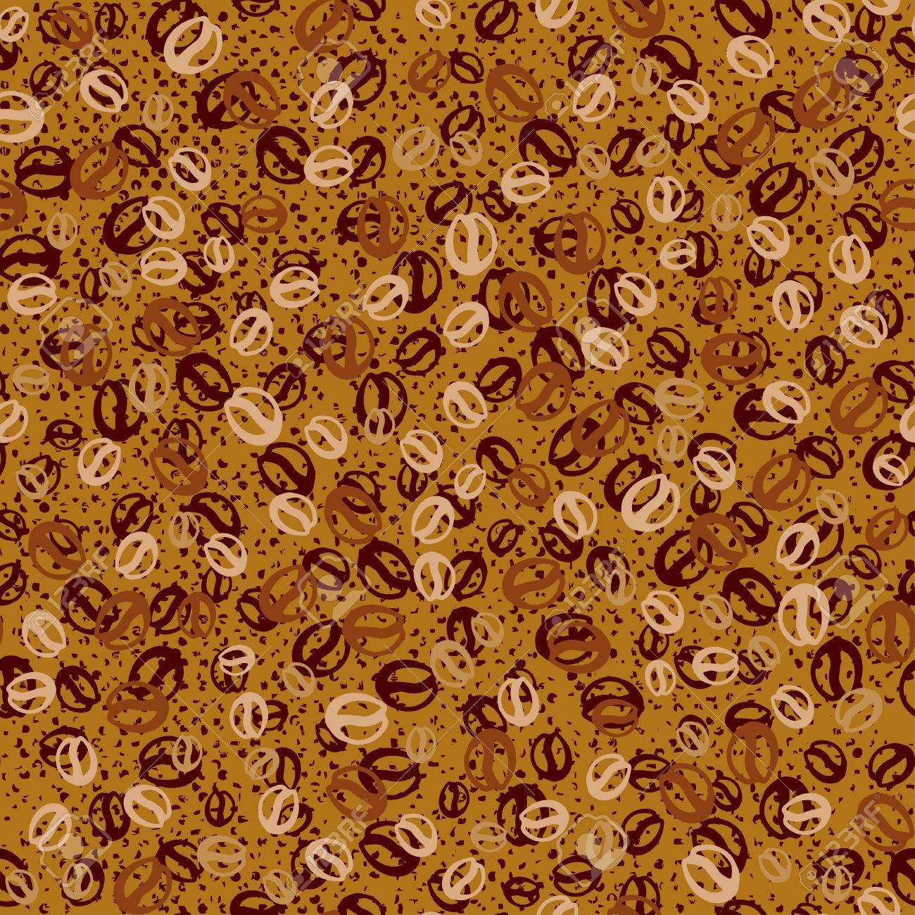 コーヒー豆とベクトルの背景 コーヒーのシームレスなパターン 壁紙