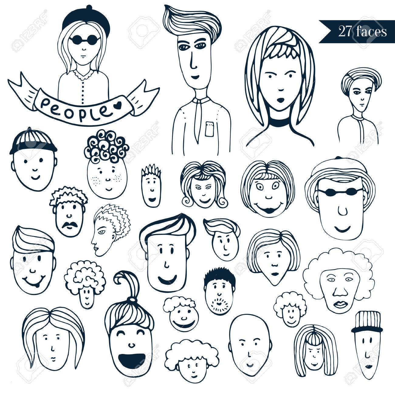 Hand Drawn People Crowd Doodle Collection Of Avatars 27 Different