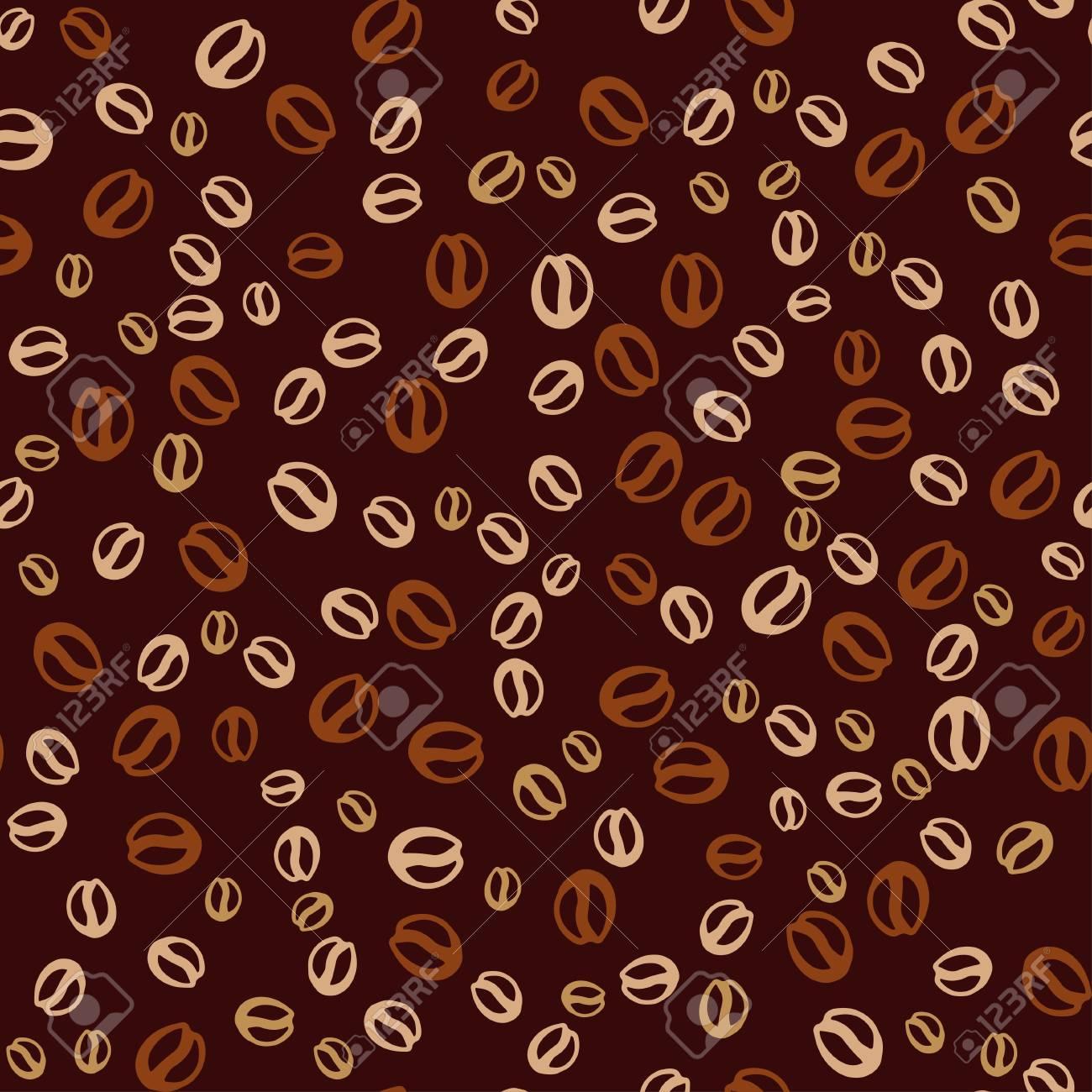 コーヒー豆とベクトルの背景 コーヒーの印刷のシームレス パターン