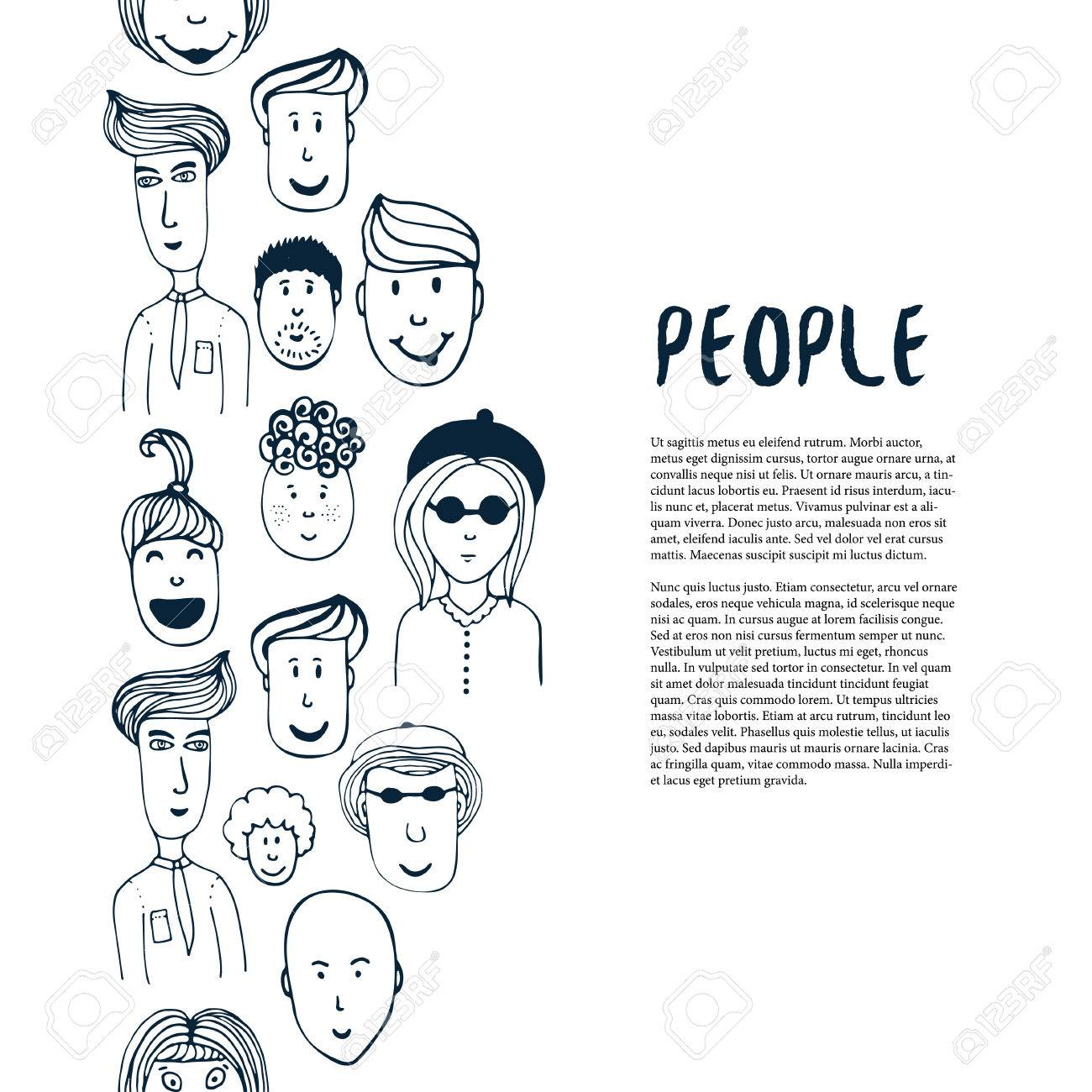 Hand drawn sketch people collection vector design business hand drawn sketch people collection vector design business template border with people for flyer magicingreecefo Image collections