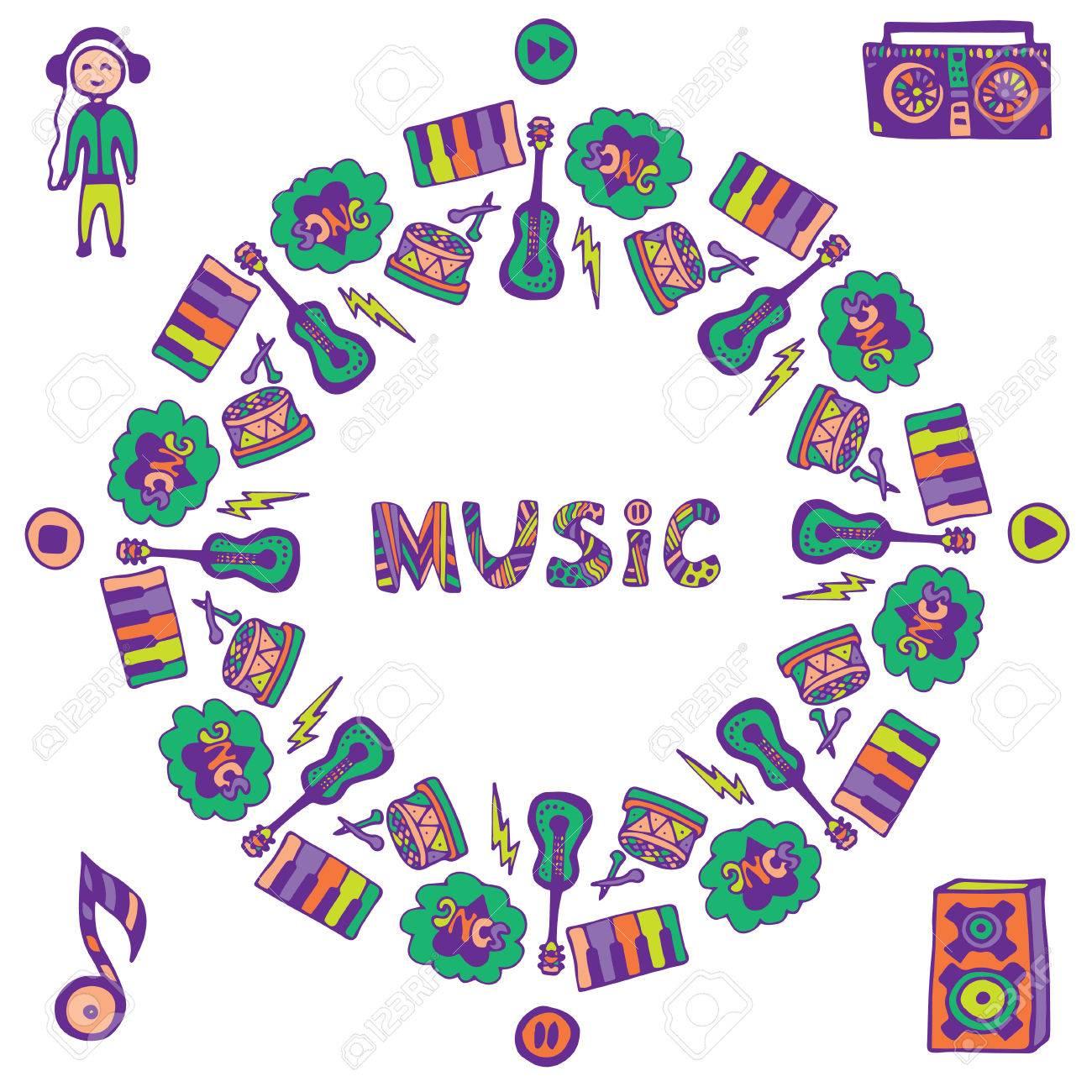Dibujado A Mano Marco De La Música. Doodle De La Música Iconos De ...