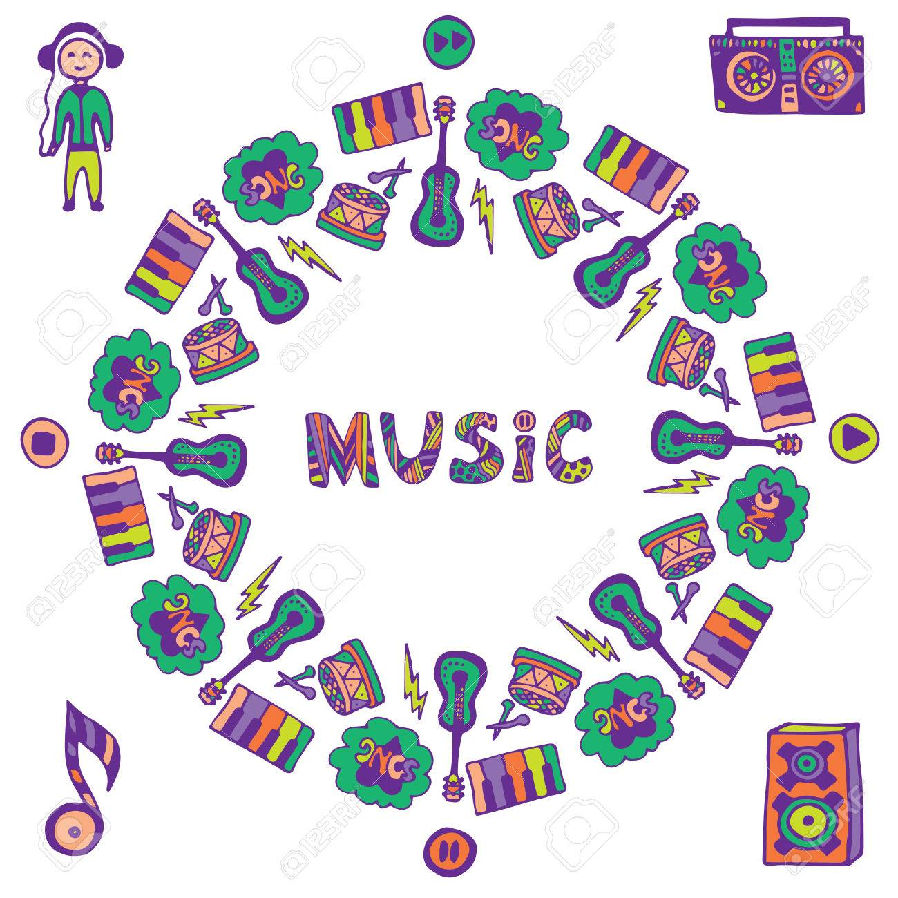 Hand Gezeichnet Musik-Rahmen. Musik-Gekritzel-bunten Icons. Vorlage ...