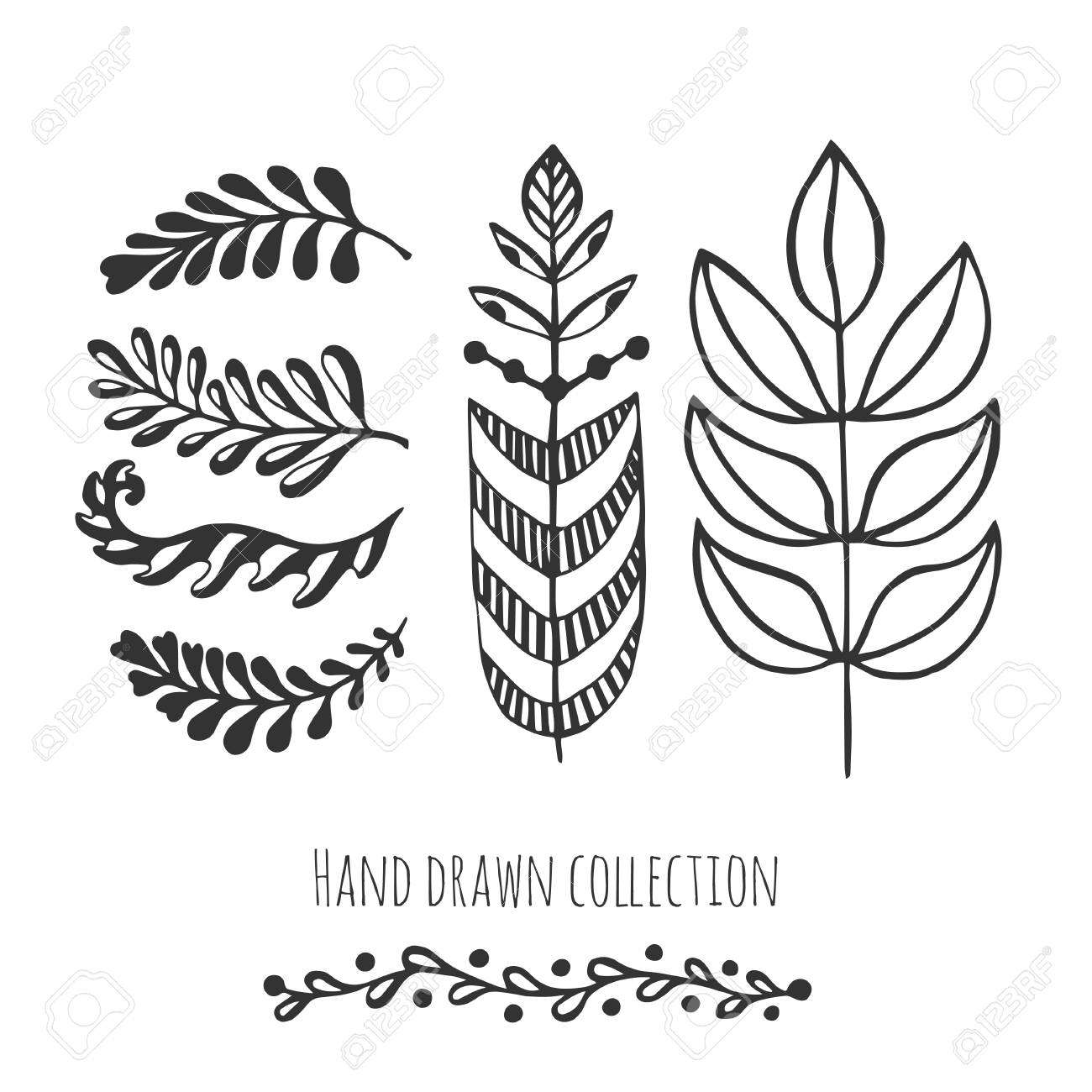 Ethnic Collection With Stylized Doodle Leaves. Template For ...