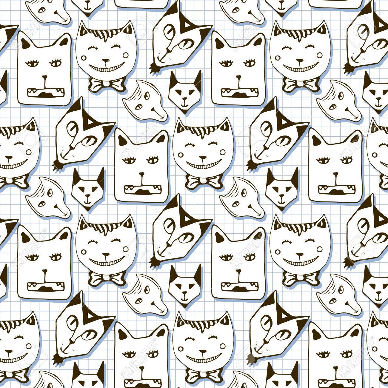 Doodle Cats Seamless Pattern Hand Drawn Cartoon Cute Animal