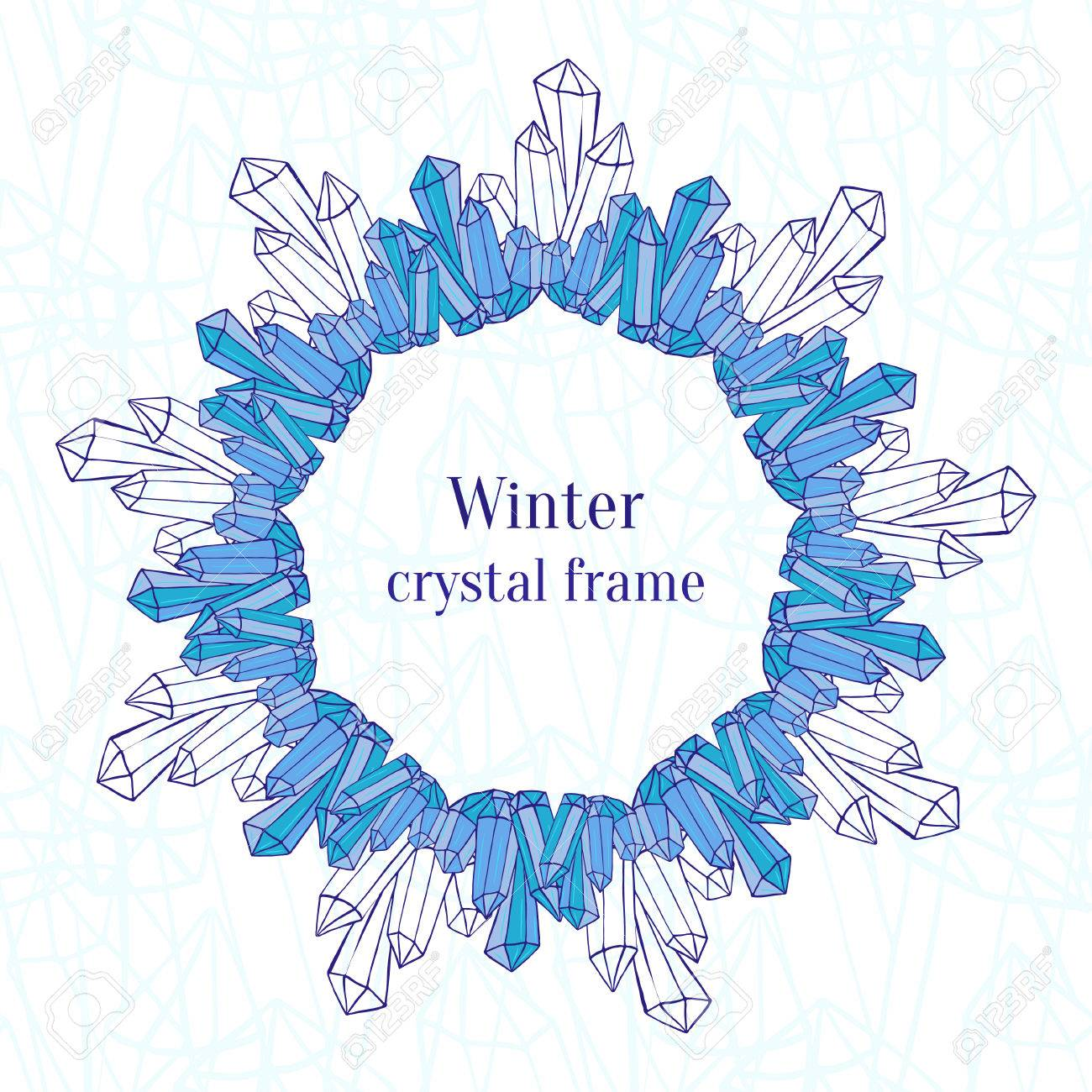 eb2ddc1846d9 Snowflake frame. Blue ice crystals decoration. Winter New Year background. Stock  Vector -