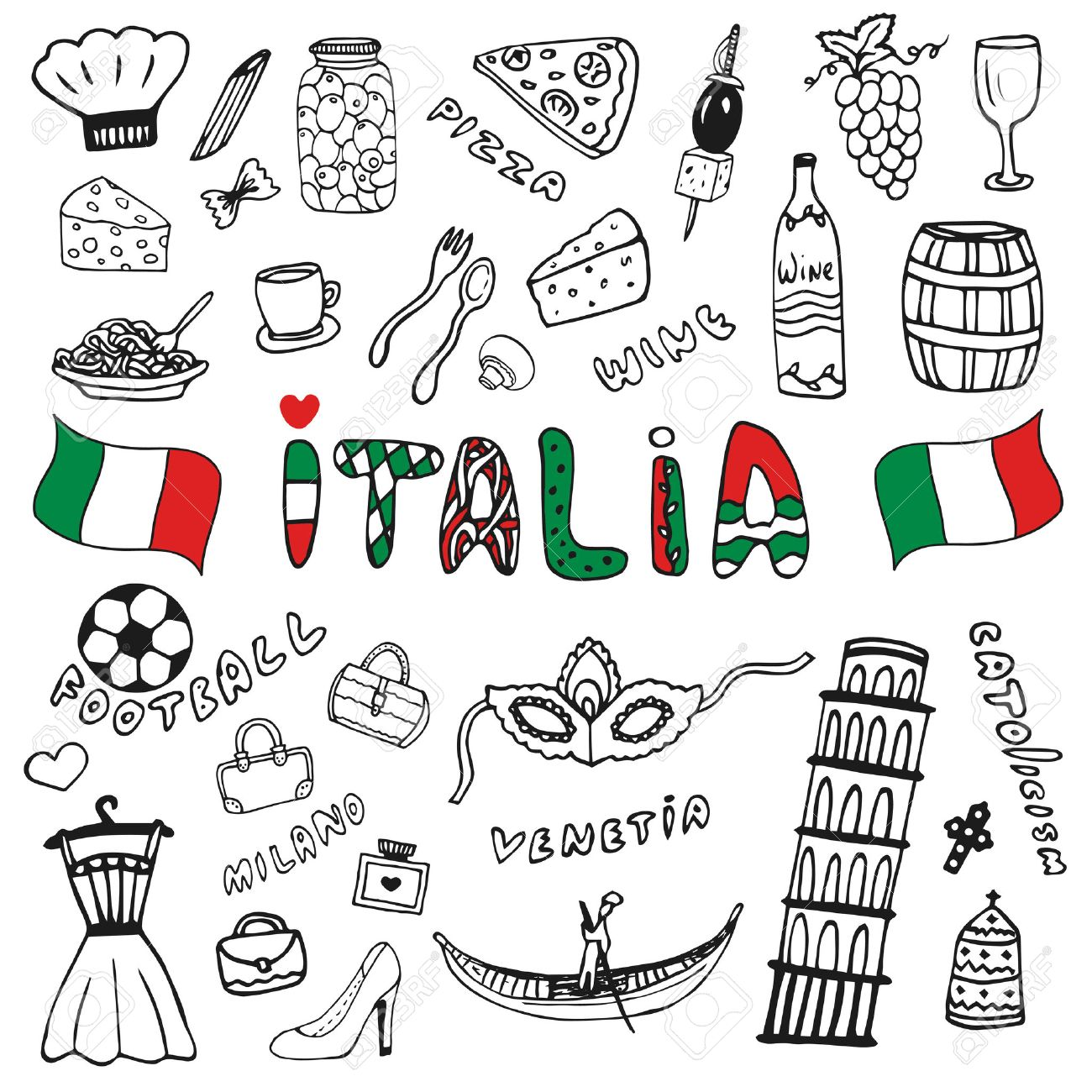 Doodle Hand Drawn Collection Of Italy Icons Italy Culture Elements