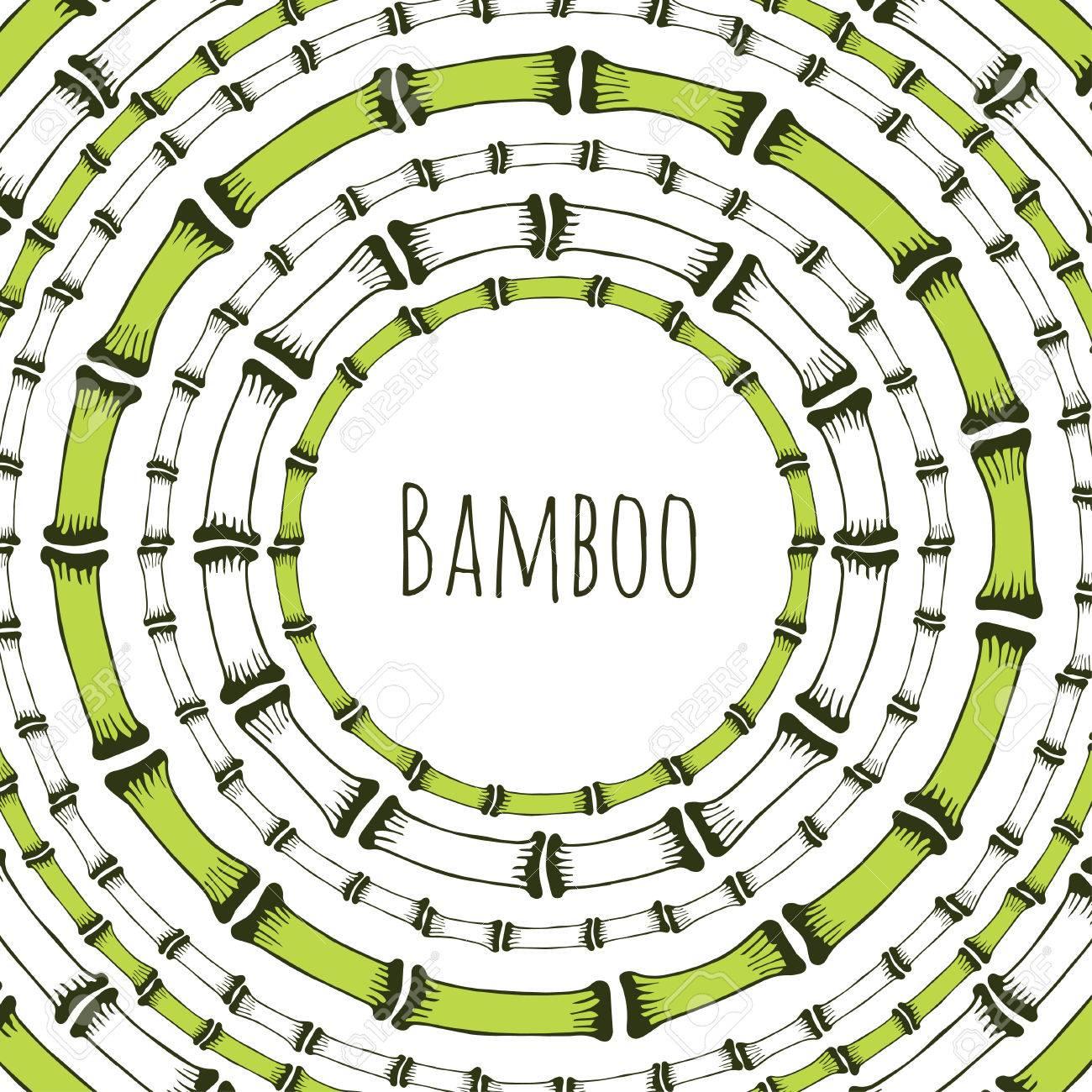 Marco Verde Del Círculo De Bambú. Doodle Etiqueta Para Los Productos ...