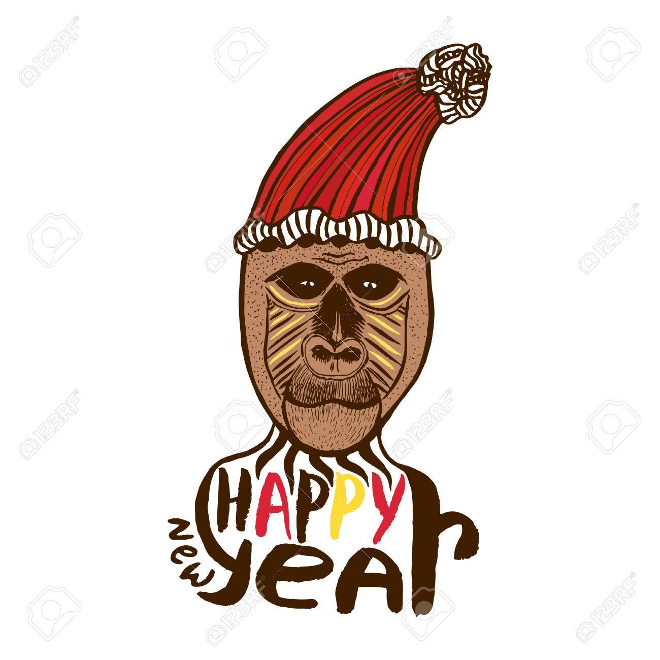 Mono De Impresión. Tarjeta De Feliz Año Nuevo. Año Del Mono. Las ...