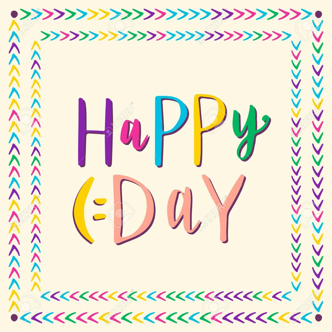 Día Feliz Letras Dibujado A Mano Tarjetas De Felicitación Invitación Y Niños Decoración Del Partido