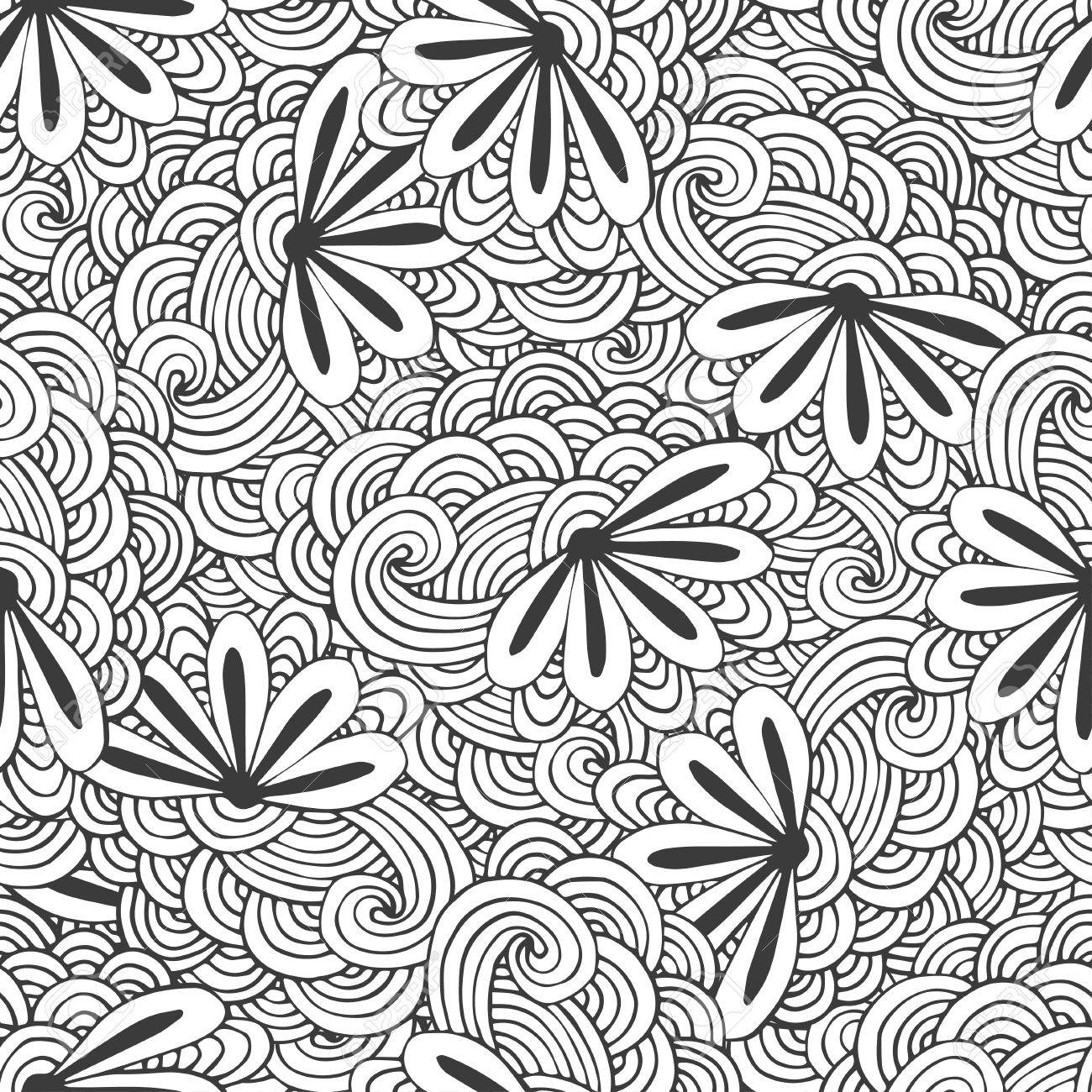 Doodle seamless waves pattern with flowers in vector. Zentangle..