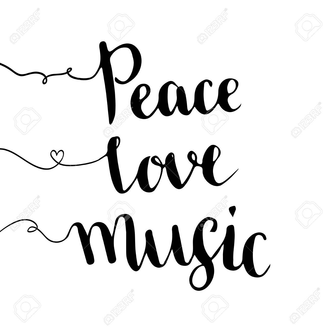 Paz Amor Música Las Letras Escritas A Mano Dibujado A Mano De
