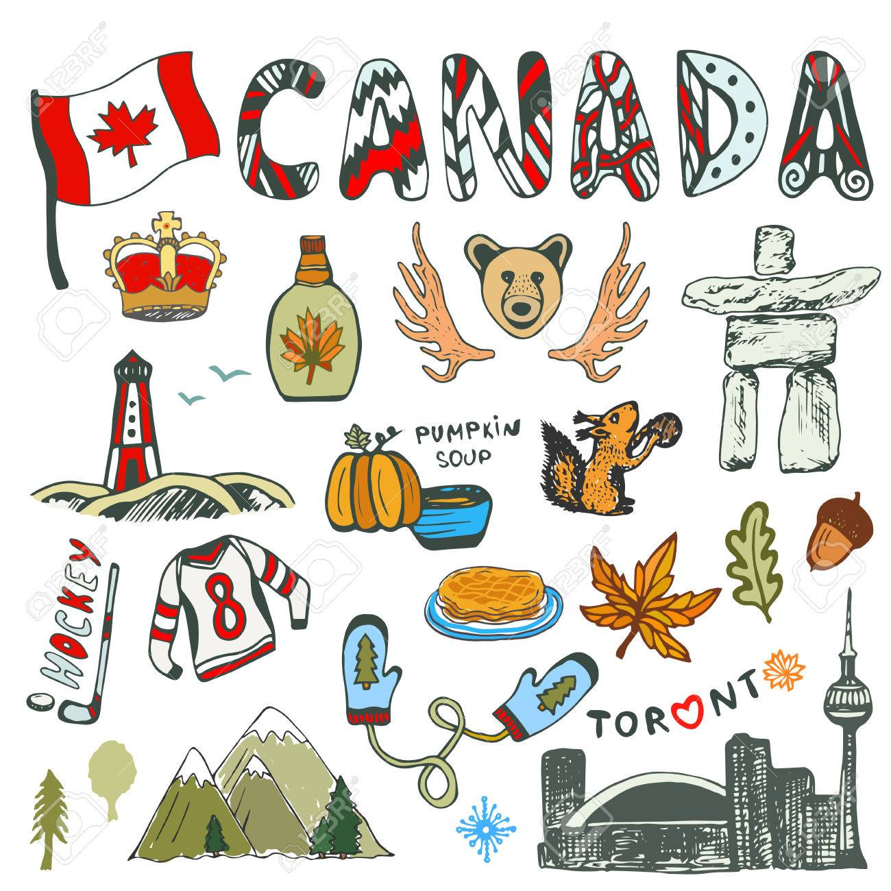 Sketch collection of canada symbols canadian culture had sketched sketch collection of canada symbols canadian culture had sketched set travel illustration with doodle biocorpaavc