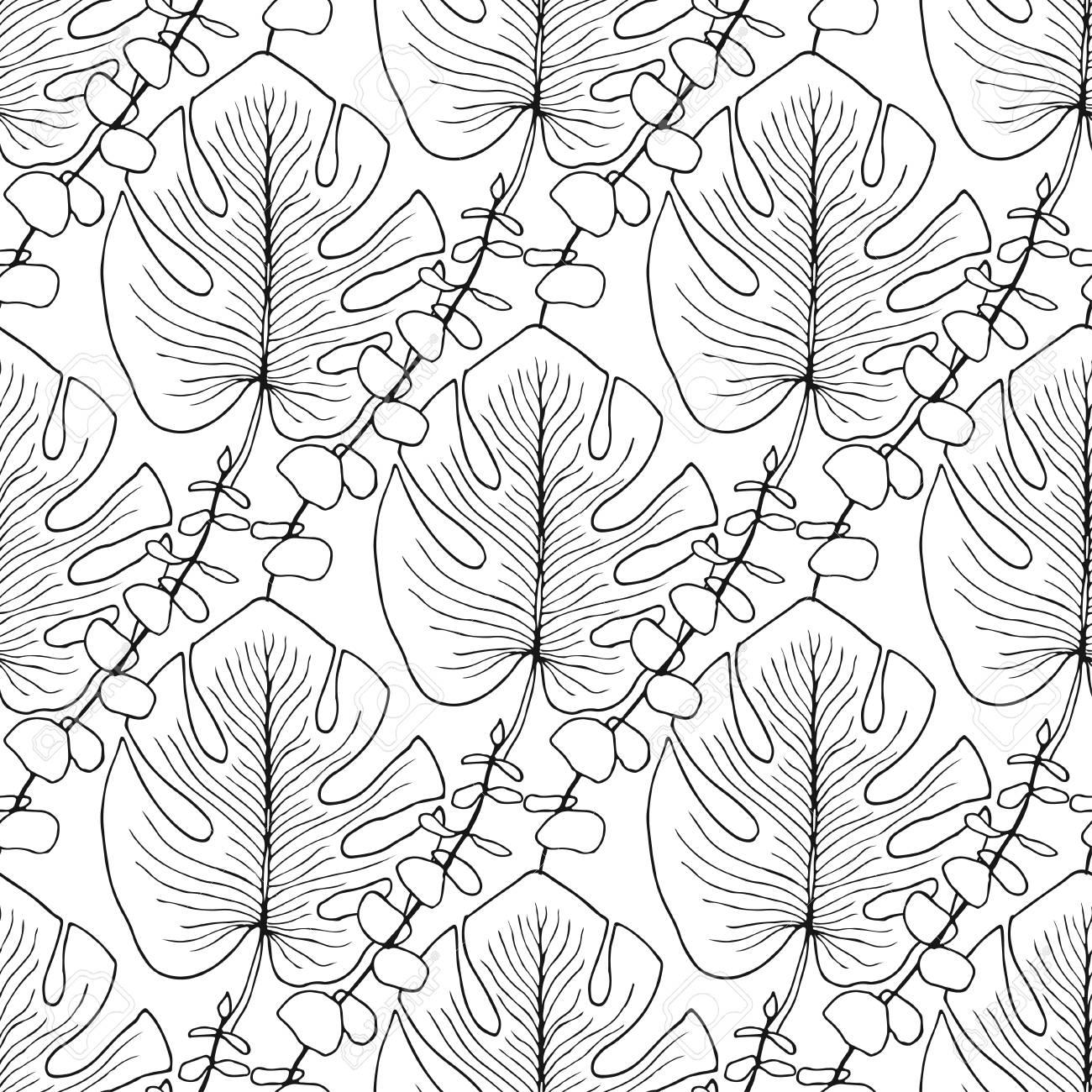 Coloriage Adulte Ete.Tropical Leaves Pattern Seamless Pour La Page De Livre De Coloriage Adulte Ou Interieur Conception D Impression D Ete