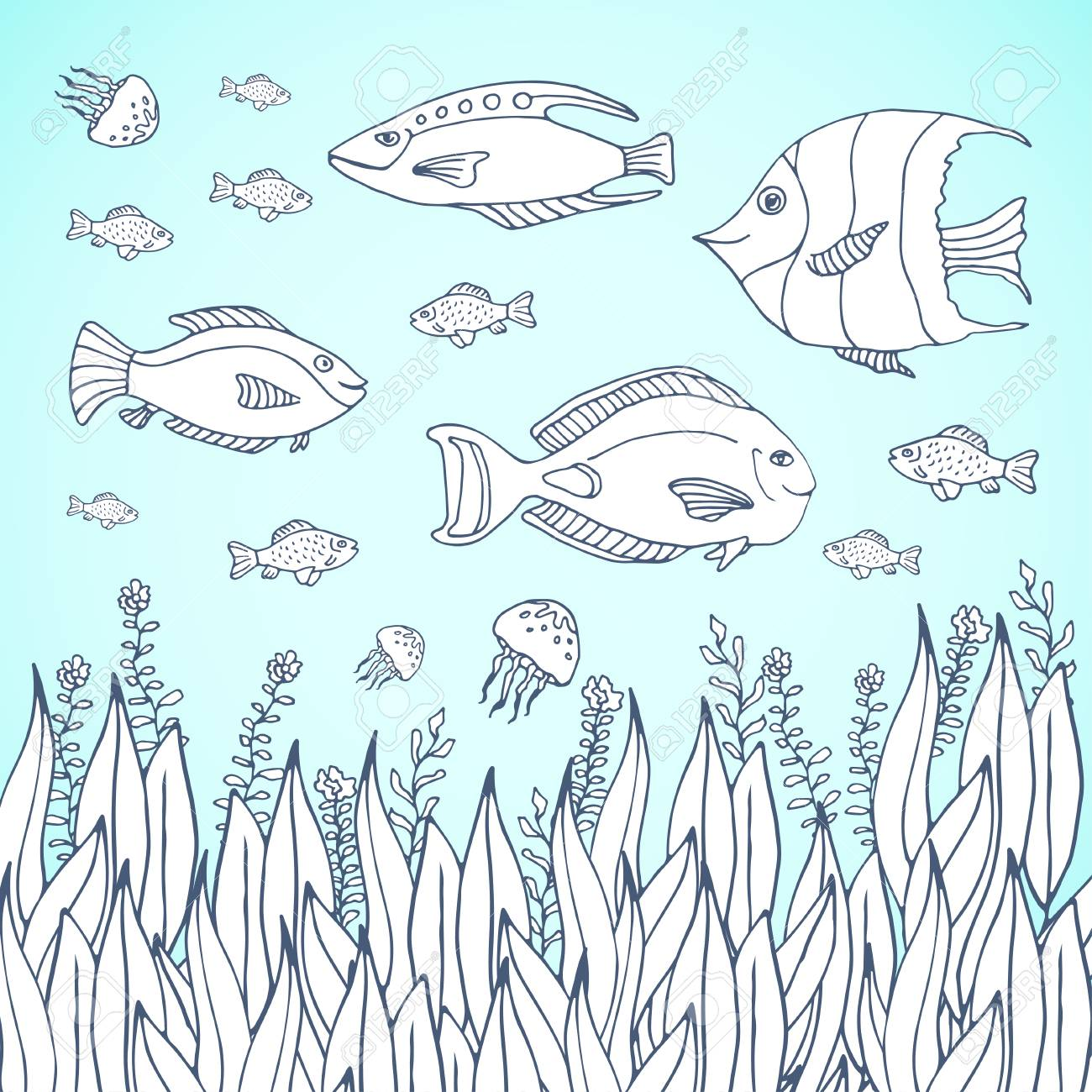 Adult Coloring Book Page. Kids Coloring Page With Aquarium Fishes ...