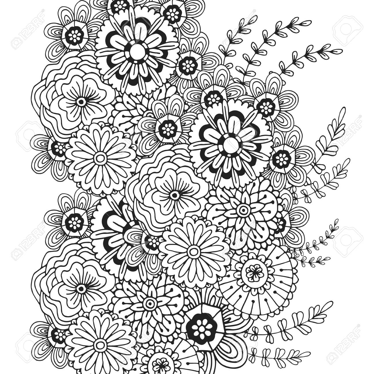 Pattern With Doodle Ornament Of Flowers Adult Coloring Book Page Design For Decoration