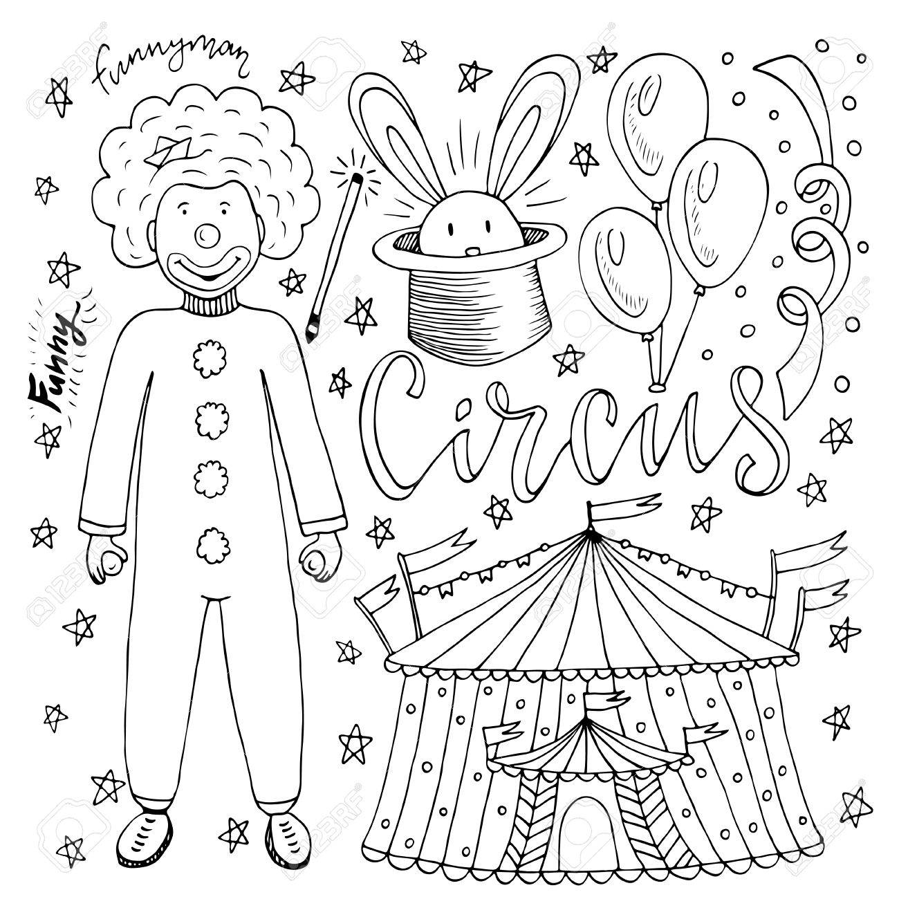 Hand Drawn Circus Collection With Clown, Balloon, Circus Tent ...