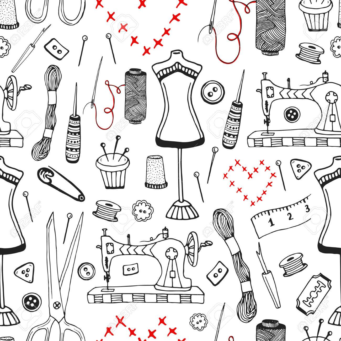 Needlework And Sewing Equipment Seamless Pattern Vector Hand Drawn Craft Supplies Print Stock