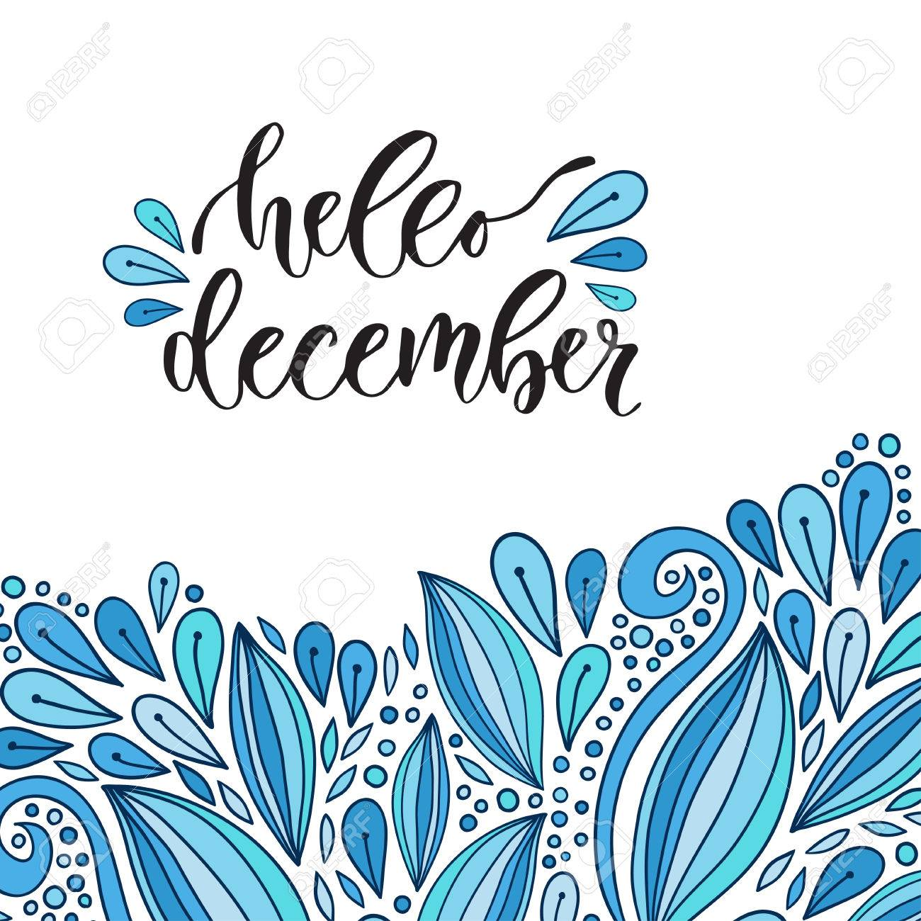 Hand drawn vector lettering  Hello december  Modern calligraphy