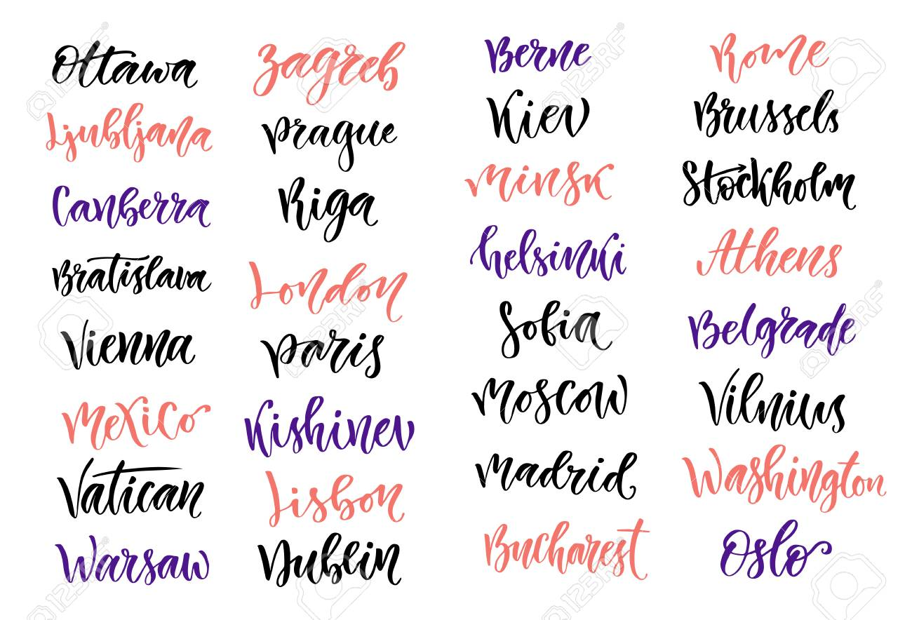 City Names Modern Calligraphy Collection Isolated Lettering Stock Vector