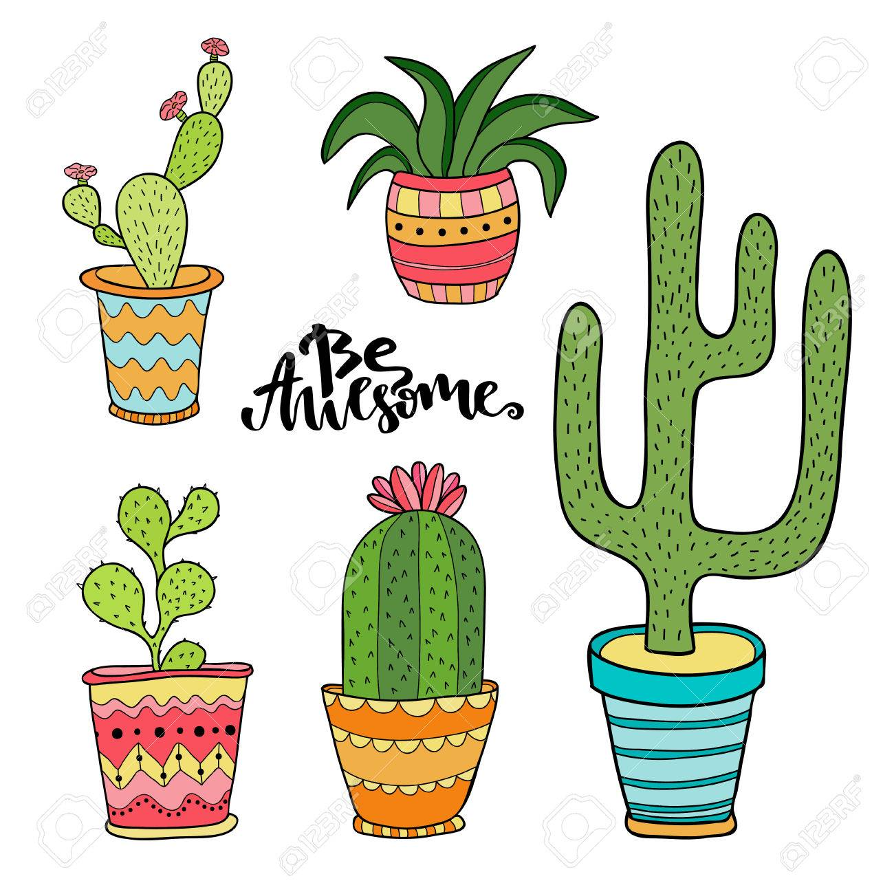 Succulent And Cactus Set Cartoon Plants In Pots Illustration Royalty Free Cliparts Vectors And Stock Illustration Image 69939609
