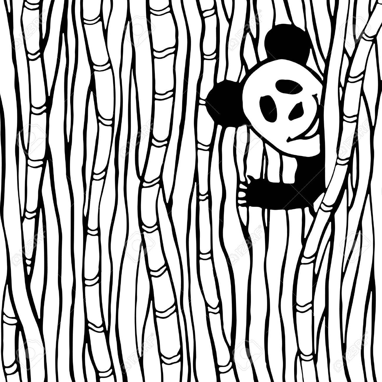 funny panda in the bamboo forest coloring book page vector