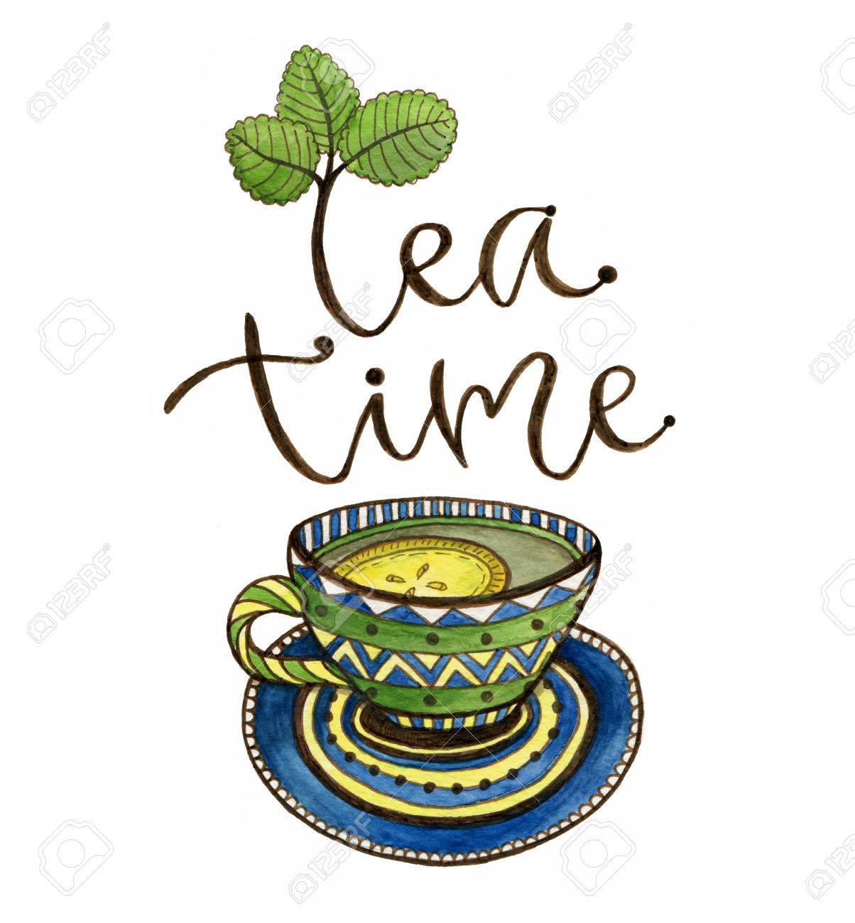 Tea Time Illustration With Calligraphy Watercolor Print With