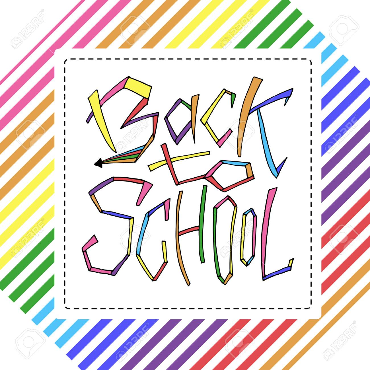 Back to school isolated text in rainbow frame lettering design back to school isolated text in rainbow frame lettering design for icon greeting m4hsunfo